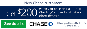 free online checking account with bonus for Chase Total Checking®