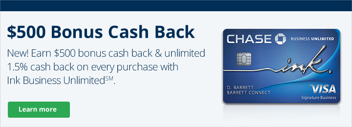New! Ink Business Unlimited℠ Credit Card - Banner