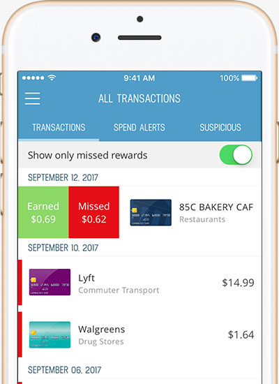 Monitor your credit card activity and receive notifications when unwanted charges appear on your credit card.